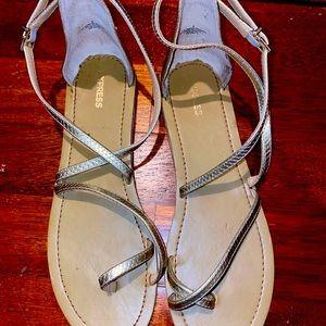 Express toe loop gold sandals